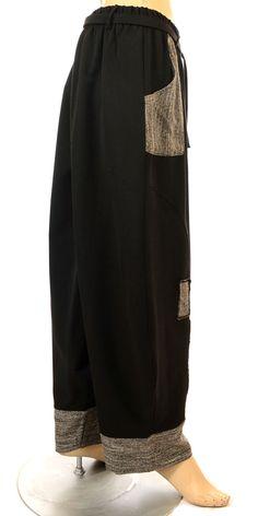 Sarah Santos Fabulous Black & Black/White Tapered Hem Trouser-Sarah Santos, lagenlook, womens plus size UK clothing, ladies plus size lagenlook fashion clothing, plus size coats, plus size dresses, plus size jackets, plus size trousers, plus size skirts, plus size petticoats, plus size blouses, plus size shirts, plus size tops, plus size tunics, lagenlook plus size fashion clothing