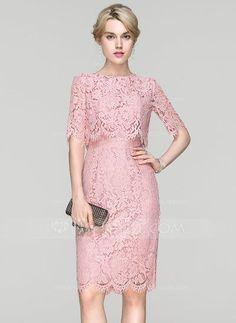 [US$ 126.69] Sheath/Column Scoop Neck Knee-Length Lace Cocktail Dress (016094364)