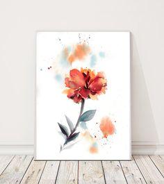 Peony Original Watercolor Painting, Floral Watercolour Illustration Art