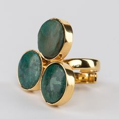 // Vergara Collection - Jade Clover Ring - DANIELA SALCEDO Clover Ring, Ring Designs, Collaboration, Jade, Cufflinks, Gemstone Rings, Vanity, Gemstones, Accessories