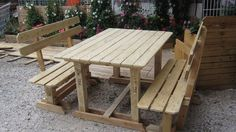Outdoor Pallet benches and table #Bench, #Pallets, #Table