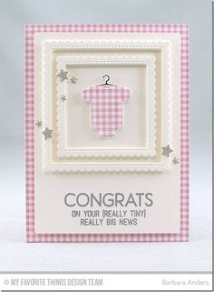 Welcome, Baby, Bundle of Baby Clothes Die-namics, Stitched Square Scallop Edge Frames Die-namics, Blueprints 25 Die-namics, Tag Builder Blueprints 6 Die-namics - Barbara Anders  #mftstamps