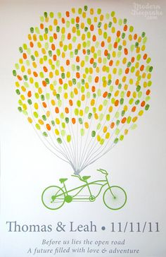 Wedding Thumbprint Guest Book  Balloons on A by PERSONALIZEDprints, $65.00