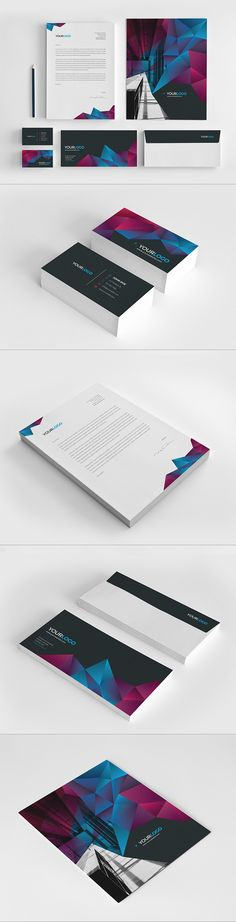 Cool Modern Stationery. Download here: http://graphicriver.net/item/cool-modern-stationery-pack/7765998?ref=abradesign #design #stationery