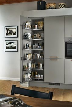 Our full height larder unit offers the perfect stylish storage solution in your kitchen. Here featured in our Glendevon Grey Kitchen Range. Get inspiration for your modern kitchen from Howdens. Modern Kitchen Cupboards, Grey Gloss Kitchen, Kitchen Storage Units, Kitchen Doors, Modern Kitchen Design, Kitchen Larder Cupboard, Kitchen Ideas, Farmhouse Style Kitchen, Modern Farmhouse Kitchens