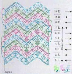Chevron stitch diagram.