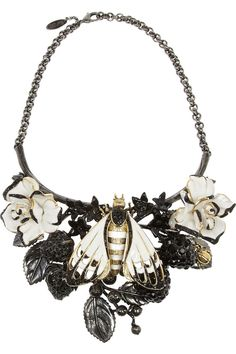Roberto Cavalli | Butterfly ruthenium-plated Swarovski crystal necklace | NET-A-PORTER.COM