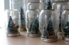 Homemade Christmas Centerpiece Ideas | : homemade holiday mason jar snowglobes with tiny sparkly christmas ...