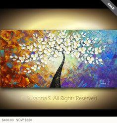 ORIGINELE abstracte hedendaagse beeldende kunst Impasto witte bloemen boom landschap Multi gekleurde moderne Paletmes schilderij door Susanna 48 x 24