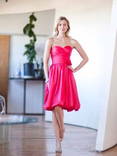 Sweetheart A-line with Ruffle embellishment Taffeta bridesmaid dress