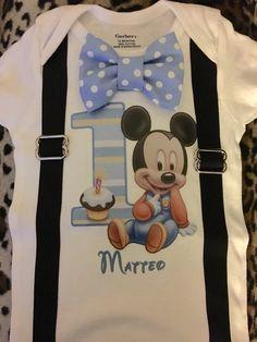 Baby mickey 1st birthday custom shirt / cake by CutieBowBoutique