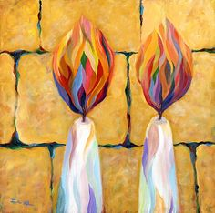 """""""It shall be a Sabbath of rest unto you"""" Leviticus By: Jordana Klein Jewish Crafts, Jewish Art, Watercolor Illustration, Watercolor Paintings, Arte Judaica, Prophetic Art, Christian Art, Painting Inspiration, Art Projects"""