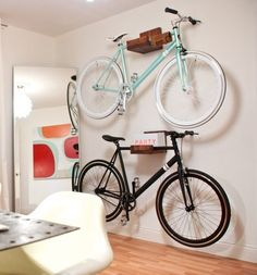 reclaimed wooden bike rack