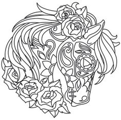The Latest Trend in Embroidery – Embroidery on Paper - Embroidery Patterns Adult Coloring Pages, Horse Coloring Pages, Printable Coloring Pages, Colouring Pages, Coloring Books, Colorful Drawings, Colorful Pictures, Paper Embroidery, Embroidery Patterns