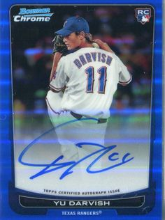 Texas Rangers Yu Darvish signed baseball card