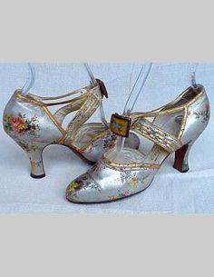 Metallic Floral Shoes - 1930's