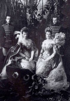 the grand duchess Anastasia Mikhailovna of Mecklenburg-Schwerin is on the left & grand duchess Marie Pavlovna of Russia (aka: grand duchess Vladimir) is on the right.  this photo was taken on the occasion of the coronation of Nicholas II in 1896.