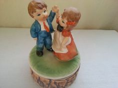 Vintage CHADWICK Music Box Handpainted Boy & Girl by 2Crafty4You
