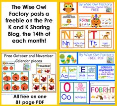 free 81 page PDF animal alphabet matching game printable, Halloween theme, and generic theme, also October and November calendar pieces