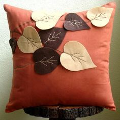 Rust Decorative Pillows Cover, Square Leaf Felt Applique Tropical Theme Faux Suede Pillows Covers For Couch – Spring Leaves – 2019 - Pillow Diy