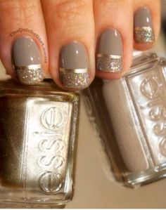 Gold & Taupe -- Taupe is Essie - Miss Fancy Pants; Gold line is Essie - Good as Gold; Glitter is Butter - Tart with the Heart Fancy Nails, Love Nails, How To Do Nails, My Nails, Holiday Nails, Christmas Nails, Holiday Nail Colors, French Christmas, Christmas Makeup
