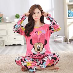 231056026ae Autumn Winter 2pieces Pyjamas Set Women Girls Cotton Round Neck Pajamas Sets  Teacup Cat Sleepwear Clothes