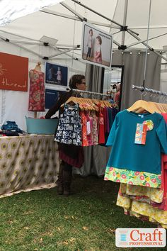 vendor booth hanging clothes from tent Craft Show Booths, Craft Booth Displays, Display Ideas, Display Photos, Booth Ideas, Portable Clothes Rack, Diy Clothes Rack, Hanging Clothes, Ideas Para Organizar Ropa