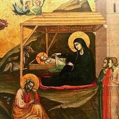 Gloria tibi Domine  Qui natus es de Virgine.  Taddeo Gaddi Nativité (1325). Musée national d'Art de Catalogne