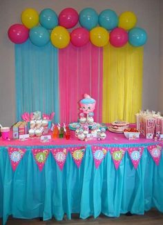 Simple Birthday Decorations, Colorful Birthday Party, Birthday Party Centerpieces, Home Wedding Decorations, Birthday Party Games, Birthday Celebration, Hand Crafts For Kids, Deco Ballon, Disney Frozen Birthday