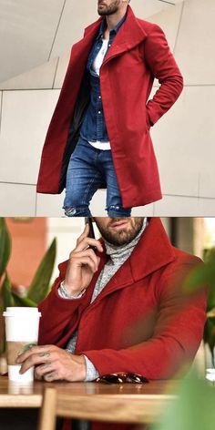 Red Denim Jacket, Denim Jeans Men, Latest Fashion Clothes, Fashion Outfits, Moda Formal, Stylish Mens Outfits, Moda Casual, Style Casual, Men's Wardrobe