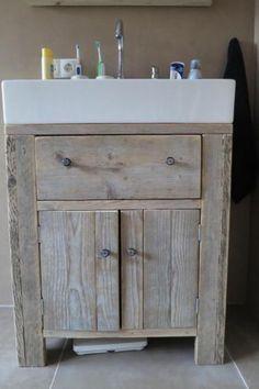 badkamermeubel kast kastje wastafelkast steigerhout