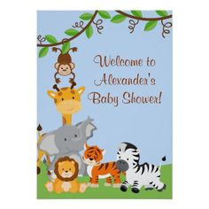 Cute Safari Jungle Animals Baby Boy Shower Poster Poster