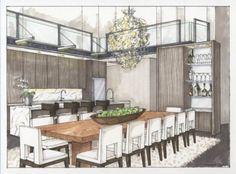 Rendering Interior Of Dining Room Simply Beautiful Isnt It Love The Layers RenderingInterior SketchInterior DesignRendering