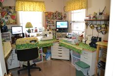 My sewing room make over. My sewing table is 2 hollow core doors with IKEA file cabinets for the base.