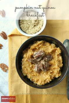 Pumpkin Nut Quinoa Breakfast from MomAdvice.com.#glutenfree #dairyfree  #vegan #vegetarian