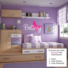 FREE SHIPPING Brittney Butterfly Name Wall Decal - Nursery Wall Decal - Teen Name Wall Decals - Personalized Wall Decals