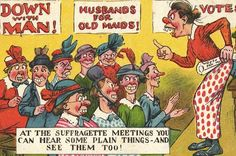 Rank and file suffragettes were most frequently portrayed as ugly, flat-footed, emotionally embittered and man-hating spinsters, as in this postcard titled 'At the Suffragette Meetings You Can Hear Some Plain Things – and See Them Too!'