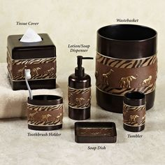 Nice African American Bathroom Decor Accessories   Home Animal Parade Lotion  Soap Dispenser Brown Part 15