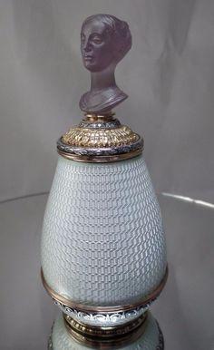 Russian Faberge 56 Gold White Enamel Diamonds HandCarved Amethyst Perfume Bottle
