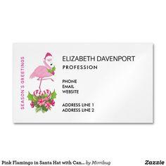 Pink Flamingo in Santa Hat with Candy Cane Bouquet Business Card Magnet Pink Flamingos, Santa Hat, Candy Cane, Business Cards, Lipsense Business Cards, Barley Sugar, Visit Cards, Carte De Visite, Stick Butter