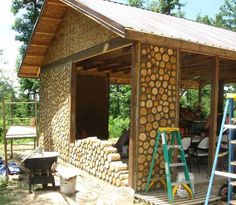 Cordwood construction (also called 'cordwood masonry,' 'stackwall construction', 'stovewood construction' or 'stackwood construction') is a term used for a natural building method in which 'cordwood' or short pieces of debarked tree are laid up crosswise with masonry or cob mixtures to build a wall.Walls are usually constructed such that the pieces of wood are 'proud' of (protrude from) the mortar by a small amount (an inch or less). Walls typically range between 12 and 24 inches thick…