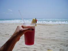 Miami Vice Drink - 1/2 strawberry daiquiri and 1/2 Pina Colada.  YUMMY!
