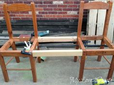 Woodworking Bench Convert chairs into a bench.using my favourite joint. - My Love 2 Create will show you how to turn two old chairs into a triple chair bench! Refurbished Furniture, Repurposed Furniture, Rustic Furniture, Furniture Makeover, Painted Furniture, Home Furniture, Furniture Design, Repurposed Wood Projects, Headboard Makeover
