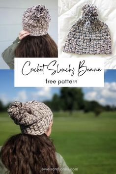 Keep your ears nice and warm with this slouchy crochet beanie! This free crochet slouchy beanie pattern is cozy, comfy, and totally beginner-friendly. #crochet #freecrochetpattern #crochetbeanie #beanie Crochet Slouchy Beanie Pattern, Crochet Cardigan, Easy Crochet, Free Crochet, Crochet Hats, Cotton Beanie, Chunky Scarves, Crochet Patterns For Beginners, Yarn Projects