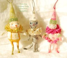 Spun cotton Holiday Party Cat ornament OOAK Vintage by jejemae,