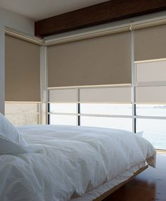 Double roller blinds for bedrooms and living area windows. Also known as Dual roller blinds or Day/Night roller blinds-neutral colours Drapes And Blinds, Bedroom Blinds, House Blinds, Bamboo Blinds, Blinds For Windows, Cortinas Screen, Cortina Roller, Day Night Blinds, Double Roller Blinds