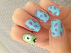 Make an original manicure for Valentine's Day - My Nails Disney Acrylic Nails, Disney Nails, Cute Acrylic Nails, Cute Nails, Disney Nail Designs, Cute Acrylic Nail Designs, Monster Inc Nails, Nagellack Design, Pretty Nail Art