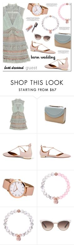 """Best Dressed Guest: Barn Weddings"" by christianpaul ❤ liked on Polyvore featuring self-portrait, Lauren Cecchi, Aquazzura, Gucci, contestentry, bestdressedguest, barnwedding and christianpaulwatches"