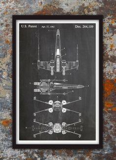 X-Wing Fighter Star Wars mur Print brevet brevet par PlexityPrints