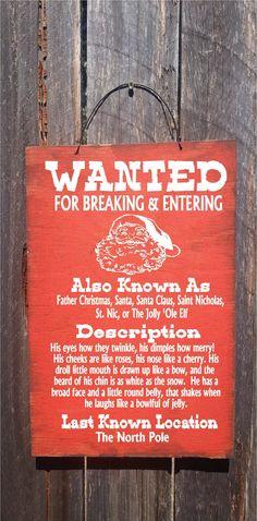 Santa Wanted Sign Christmas Decor Christmas by FarmhouseChicSigns